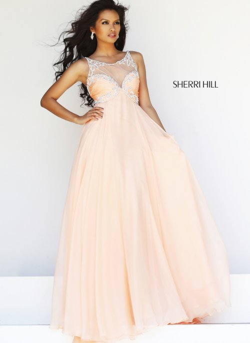 Gorgeous long peach prom gown 2014 by Sherri Hill