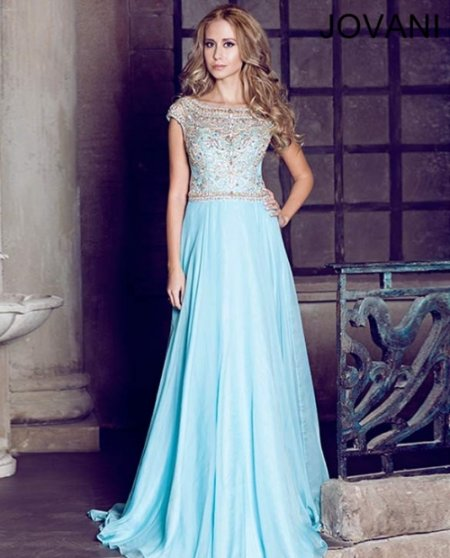 Long light blue prom dress 2014 by Jovani with jeweled bodice