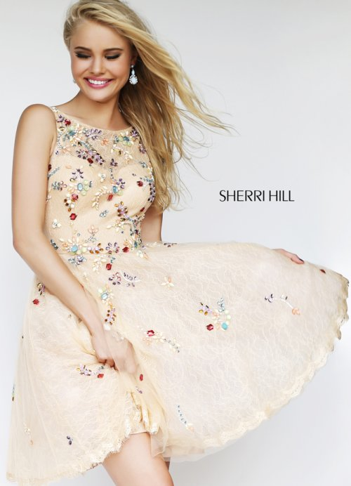Peach short prom dress 2014 with colorful jeweled flowers