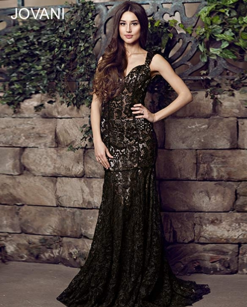 backless black lace prom dress 2014 jovani