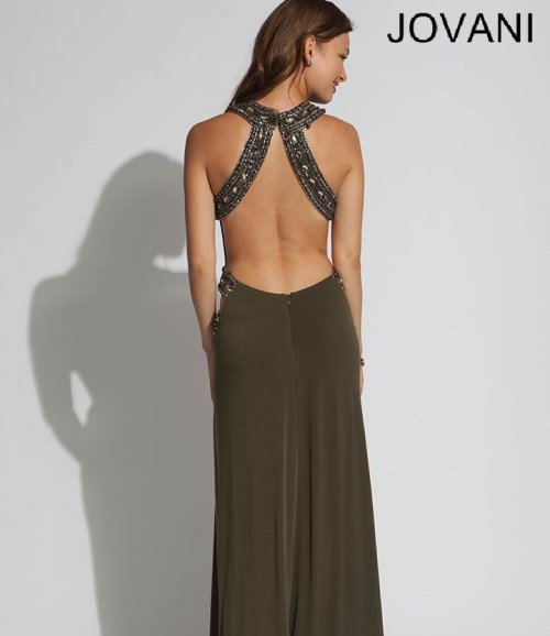 exotic olive prom dress 2014 jovani-open back