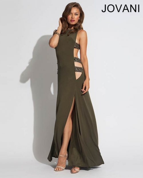 exotic olive prom dress 2014 jovani