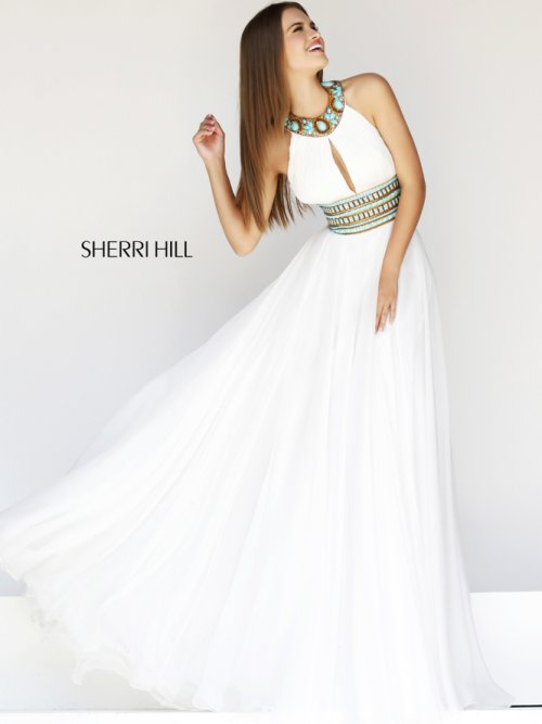 gorgeous white prom dress with emeral green jeweled details by Sherri Hill 20147