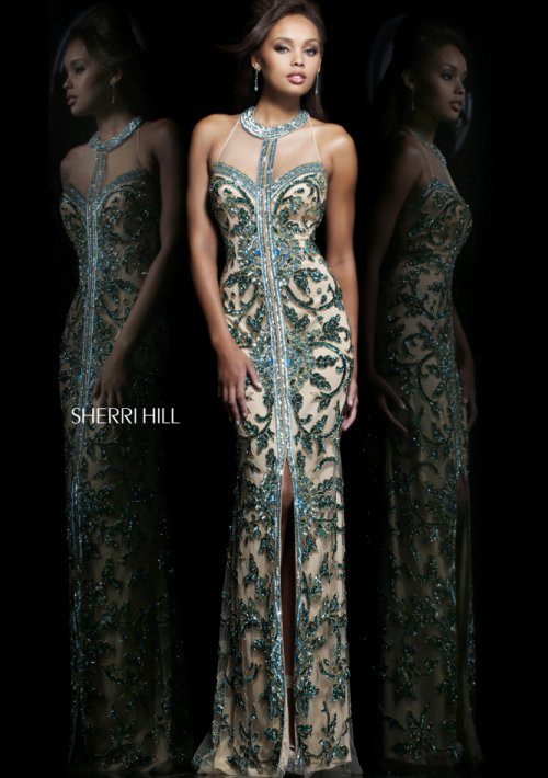 long nude prom dress with beaded green print overlay