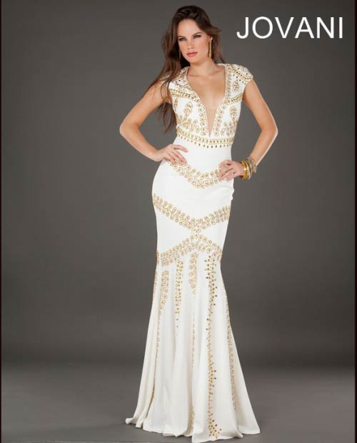 long white-gold V-neck prom dress 2014 jovani