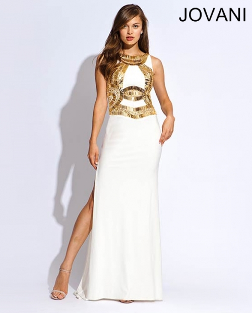 long white-gold prom dress 2014 jovani