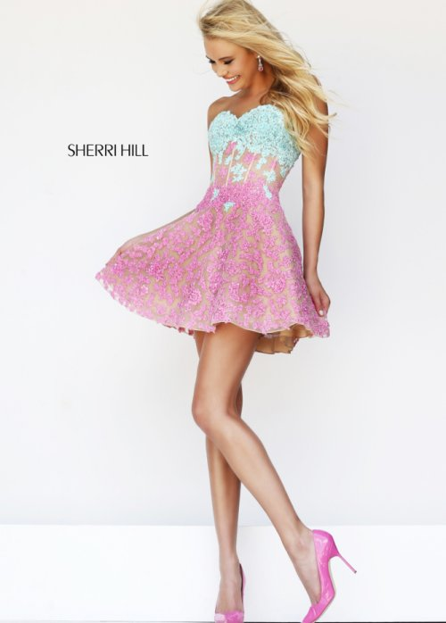 pink blue short prom dress 2014 by Sherri Hill