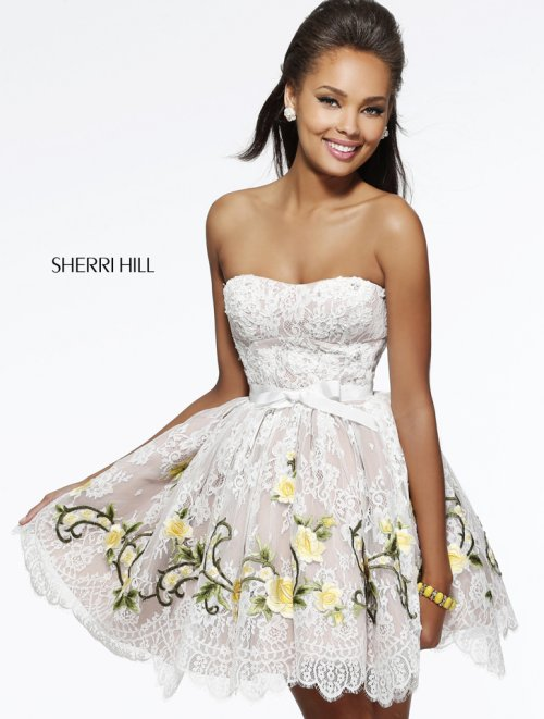 short white lace prom dress 2014 by Sherri hill with yellow roses detail