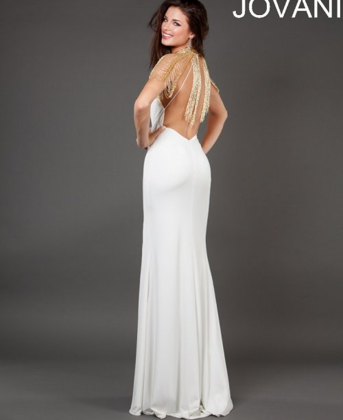 white-gold prom dress 2014 jovani-low back