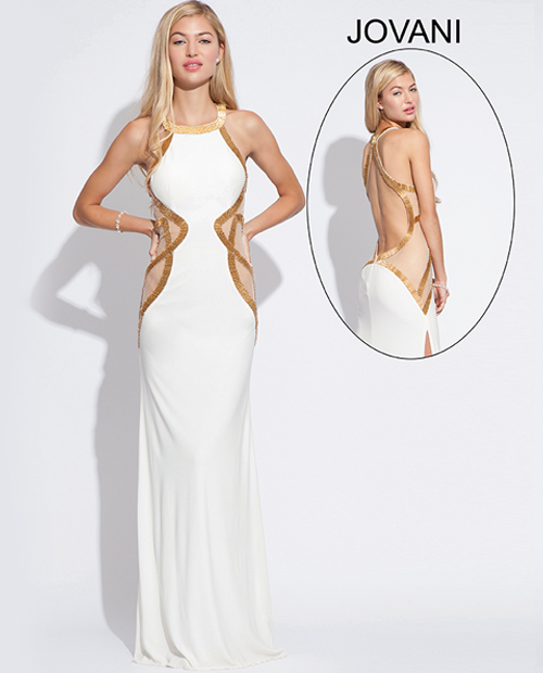 white prom dress with gold stripes 2014