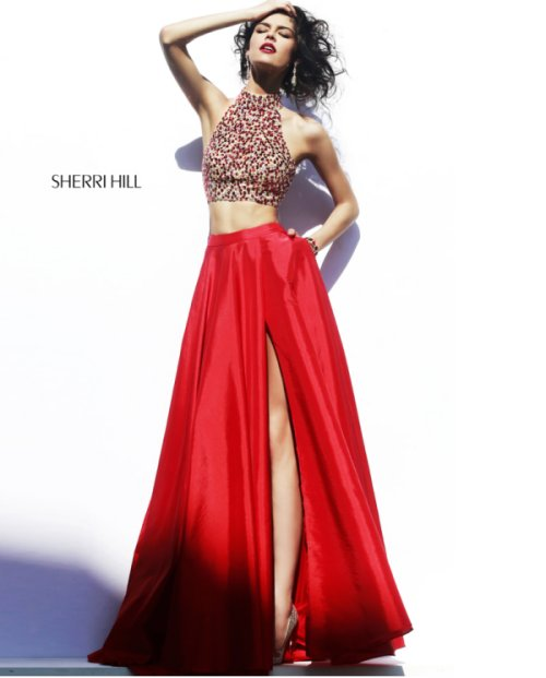 beautiful red two piece prom dress with red rhinestones beaded halter top by Sherri Hill 2015-32020