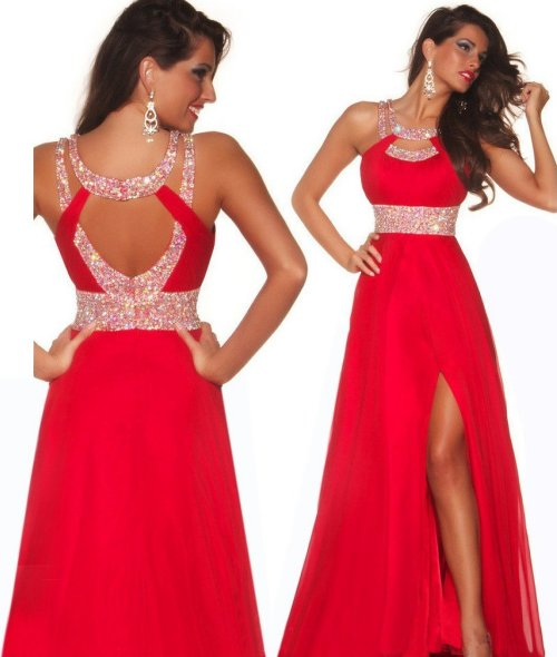 hot red prom dress with low back and silver sequin details 2015