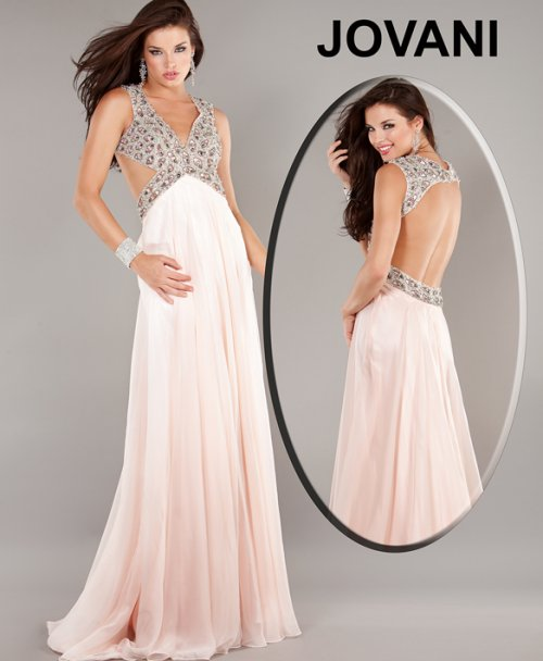 light pink-peach cut out prom dress 2015 by Jovani 1929