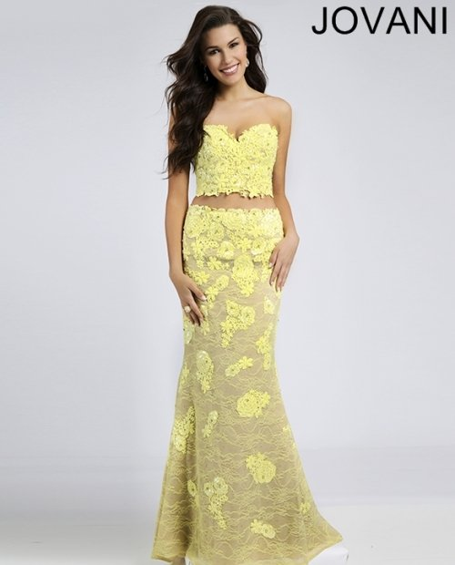 long lace yellow two piece prom dress with strapless bodice 2015 by Jovani 21063