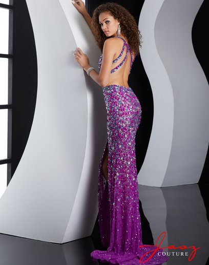 long purple beaded backless prom dress 2015