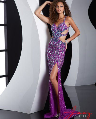 long purple crystal beaded backless prom dress 2015