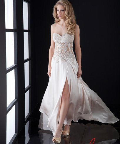 long white-vanilla strapless prom dress with beaded corset bodice 2015