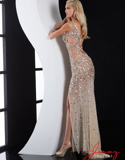 nude crystal beaded sexy prom dress with side and back cutout 2015 by jasz