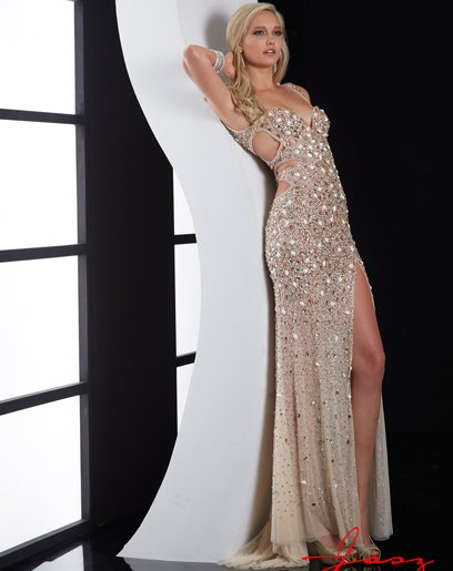 nude crystal beaded sexy prom dress with side cutout 2015 by jasz