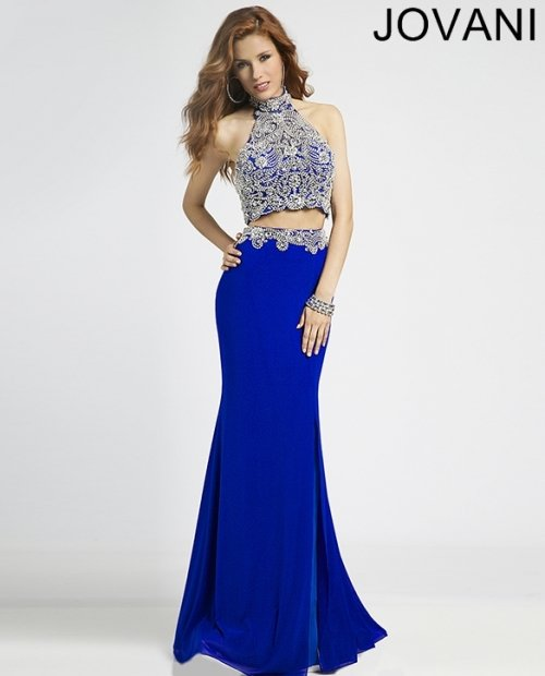 royal blue two piece prom dress by Jovani with beaded silver-blue halter top 2015-20370
