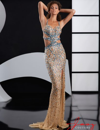 sexy backless crystal nude-Turquoise prom dress 2015 with side cutouts