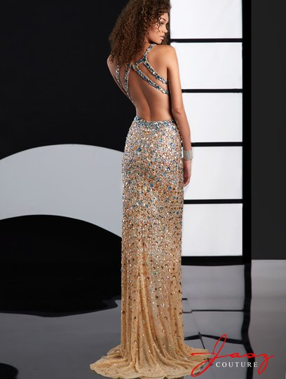 sexy backless nude-Turquoise prom dress 2015 with side cutouts