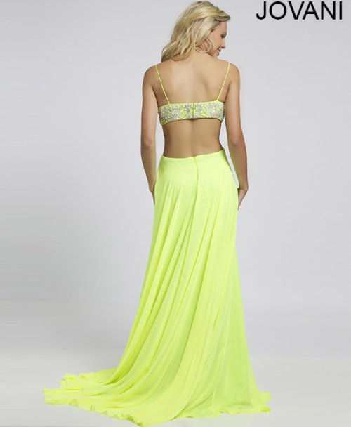 sexy lime green prom dress with cut outs and open back 2015 by Jovani