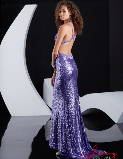 sexy purple sequin backless prom dress 2015