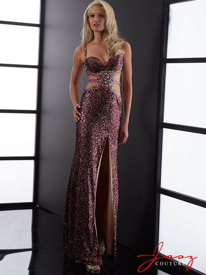 sexy purple shimmering prom dress with side cutouts 2015 by Jasz