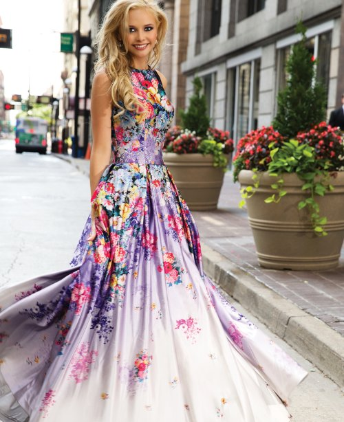 purple floral prom gown 2015 by Jovani open back