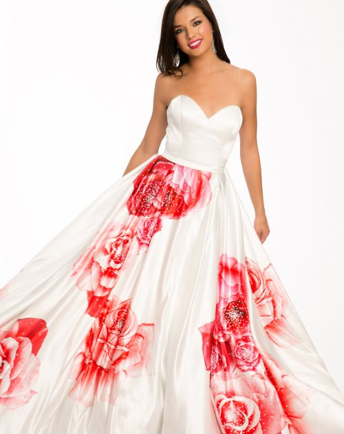 beautiful white prom ball gown with red rose design by Jovani 2015