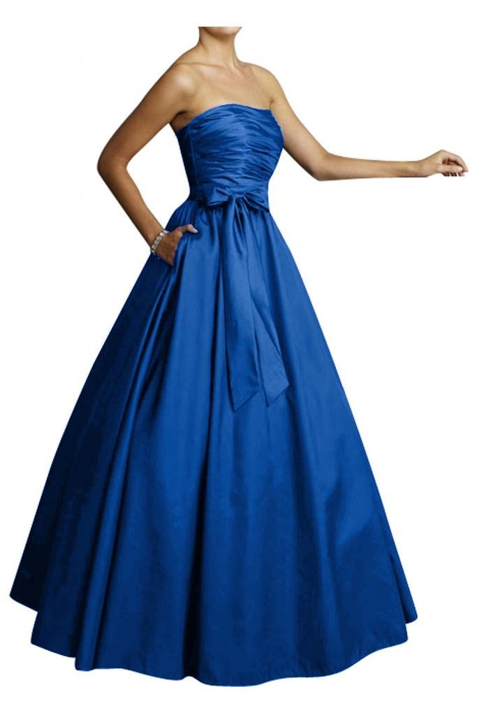 Elegant long navy blue prom ball dress 2015 by Gorgeous Bridal with a wasit bow