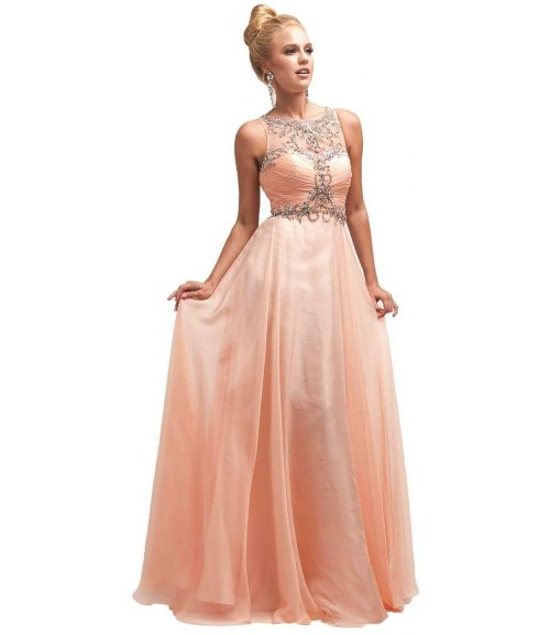 Meier beaded peach prom dress 2015