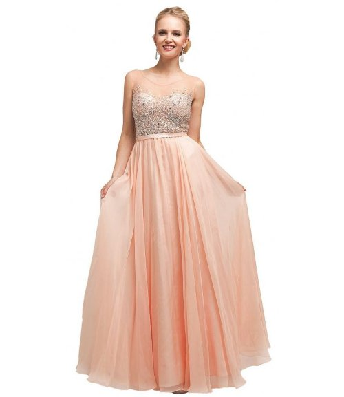 Meier beaded peach prom dress sheer top 2015
