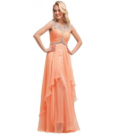 Meier beaded sheer neckline peach prom dress 2015