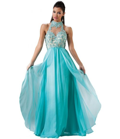 Meier gorgeous aqua blue embroiderry halter prom dress 2015