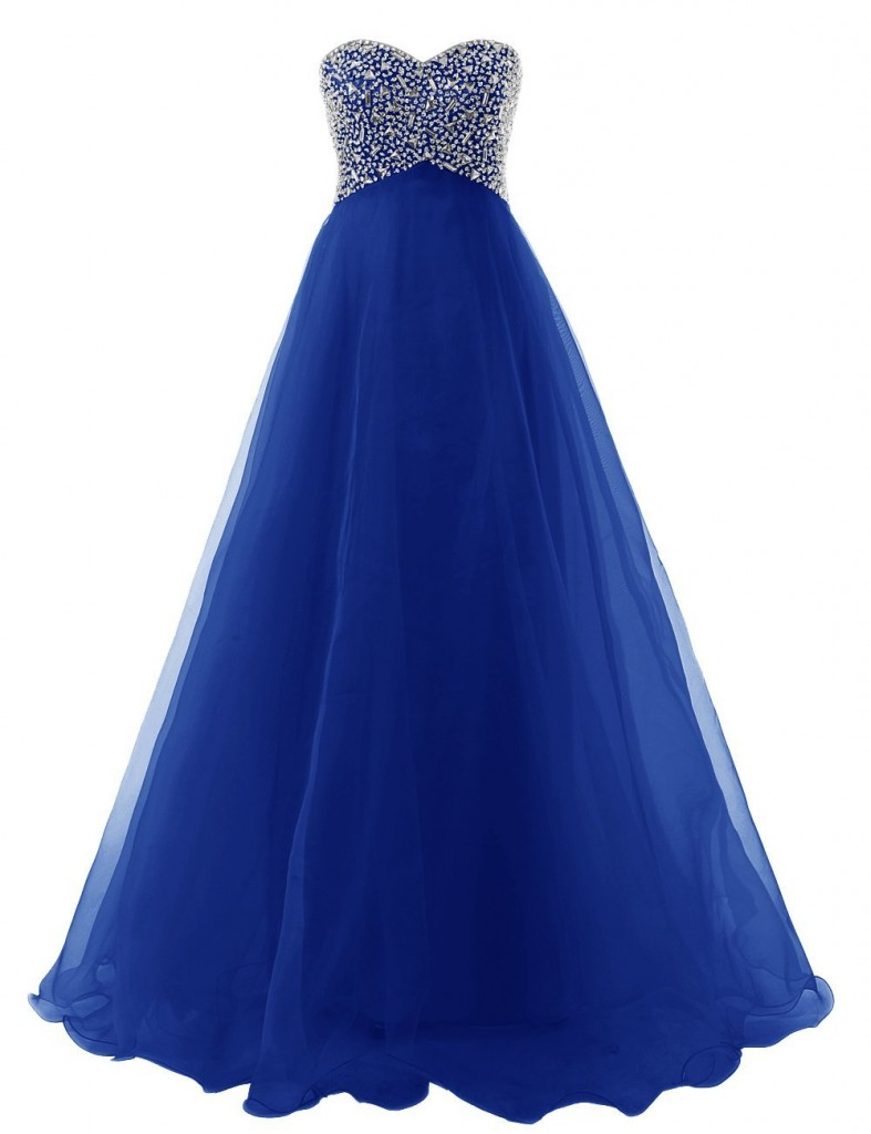 Stunning strapless blue prom ball gown with silver embellished top Dressystar