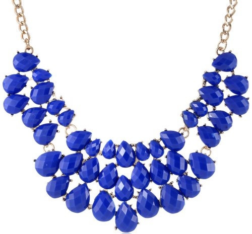 blue teardrop collar statement necklace for prom 2015