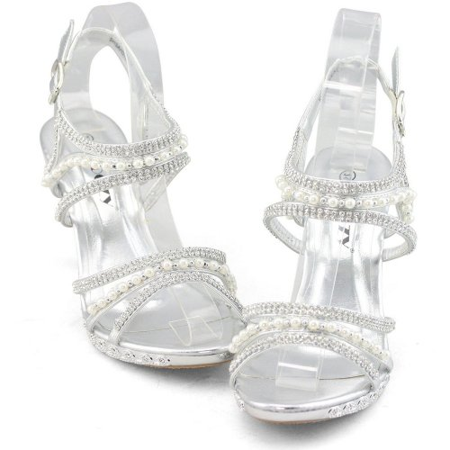 cute and sexy silver rhinestone-pearl prom sandals 2015 by Shoezy