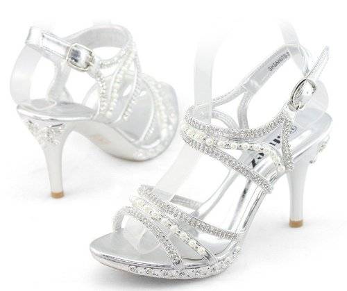 cute and sexy silver rhinestone-pearl prom sandals by Shoezy