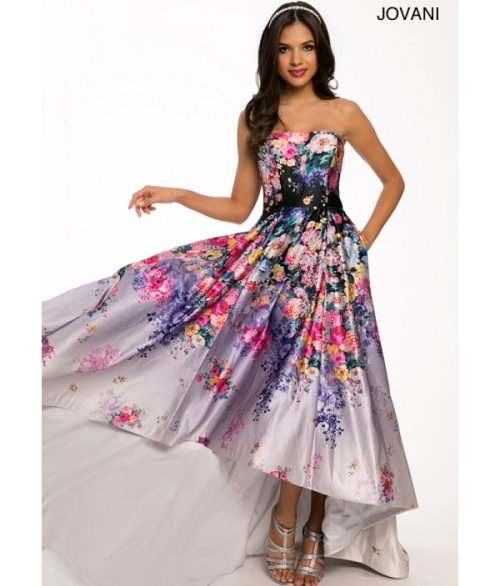 cute high low strapless flower print prom dress 2015 by jovani