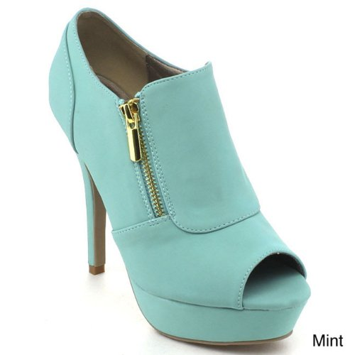 cute mint prom booties with zippers 2015 by Bonnibel Jillian