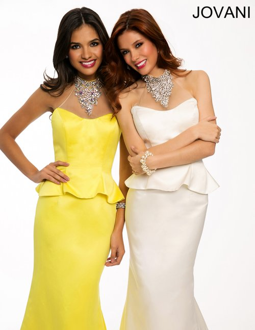 elegant yellow and white peplum prom dresses 2015 by jovani