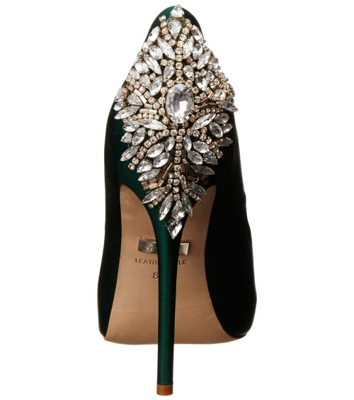 gorgeous emerald green peep toe prom shoes 2015 by Badgley Mischka-