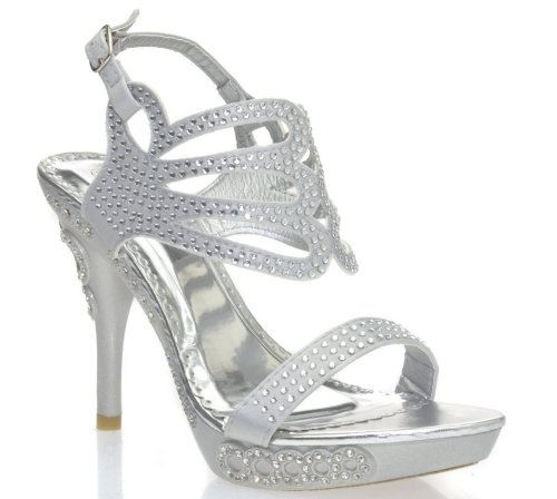 gorgeous silver rhinestone high heel prom sandals 2015 V-Luxury