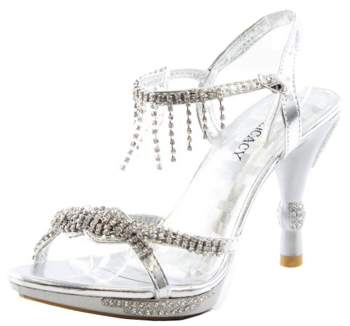 sexy high heel strappy prom sandals with silver rhinestones by Delicacy