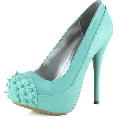 sexy mint green high heel prom shoes 2015 with spiked cap toe Qupid