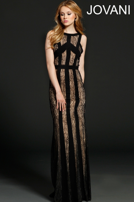 99376 long black and nude lace prom dress 2015 jovani
