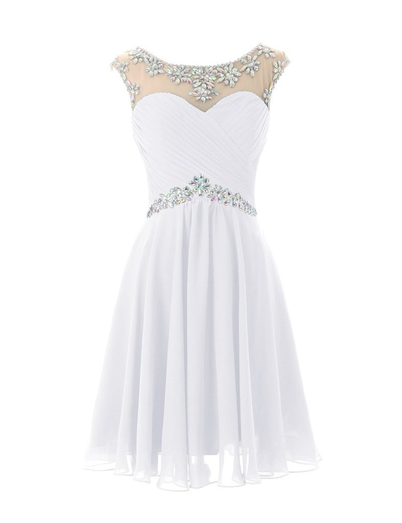 elegant short white prom dress 2015 by Dresstells