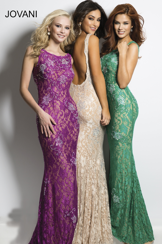 long lace embellished backless prom dresses 2015 by Jovani